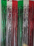Red green white metallic fringe curtains